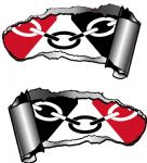 Small Pair Ripped Torn Metal Gash Design & Black Country Flag Vinyl Car Sticker 93x50mm each